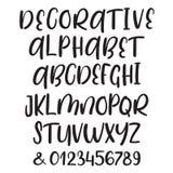 Συρμένες χέρι διανυσματικές ABC βουρτσών ανώτερες και πεζές επιστολές μελανιού καθορισμένες Κωμική πηγή Doodle για το σχέδιό σας Στοκ Εικόνα