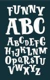 Συρμένες χέρι διανυσματικές ABC βουρτσών επιστολές μελανιού που τίθενται στο μαύρο υπόβαθρο Συρμένη χέρι doodle κωμική πηγή για τ Στοκ φωτογραφίες με δικαίωμα ελεύθερης χρήσης