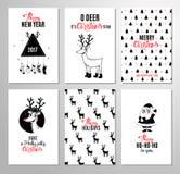 Συρμένες χέρι εκτυπώσιμες κάρτες Χριστουγέννων απεικόνιση αποθεμάτων
