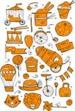 Συρμένες χέρι διανυσματικές απεικονίσεις τσίρκων και διασκέδασης σκίτσων πορτοκαλιές Εκλεκτής ποιότητας εικονίδια Στοιχεία σχεδίο Στοκ Εικόνα