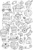 Συρμένες χέρι διανυσματικές απεικονίσεις τσίρκων και διασκέδασης σκίτσων Εκλεκτής ποιότητας εικονίδια Στοιχεία σχεδίου Doodle για Στοκ Φωτογραφία