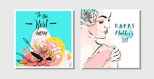 Συρμένες χέρι διανυσματικές αφηρημένες ευχετήριες κάρτες που τίθενται με την ευτυχείς καλλιγραφία ημέρας μητέρων και τον αριθμό γ Στοκ Εικόνες