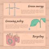 Συρμένες χέρι κάρτες οικολογίας Στοκ Εικόνες