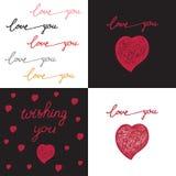 Συρμένες χέρι καθορισμένες αφίσες με την αγάπη λέξεων Στοκ Εικόνες