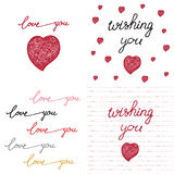Συρμένες χέρι καθορισμένες αφίσες με την αγάπη λέξεων Στοκ φωτογραφία με δικαίωμα ελεύθερης χρήσης