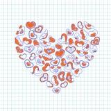Συρμένες χέρι καρδιές μελανιού σε ένα κομμάτι χαρτί σημειωματάριων Διανυσματική απεικόνιση ημέρας βαλεντίνων για μια κάρτα αγάπης Στοκ Εικόνα
