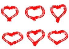 Συρμένες χέρι καρδιές που τίθενται Σύμβολο αγάπης την ξηρά ζωγραφική βουρτσών, που απομονώνεται με στοκ φωτογραφίες