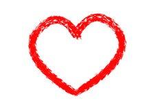 Συρμένες χέρι καρδιές που τίθενται Σύμβολο αγάπης την ξηρά ζωγραφική βουρτσών, που απομονώνεται με στοκ εικόνα
