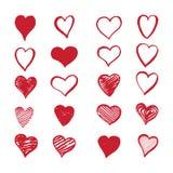 Συρμένες χέρι καρδιές σε ένα άσπρο υπόβαθρο Στοκ εικόνες με δικαίωμα ελεύθερης χρήσης