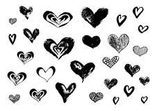 Συρμένες χέρι καρδιές μελανιού doodle στο άσπρο υπόβαθρο Στοκ Φωτογραφίες