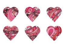 Συρμένες χέρι καρδιές Doodle Σύνολο Στοκ εικόνα με δικαίωμα ελεύθερης χρήσης