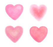 Συρμένες χέρι καρδιές watercolor στο άσπρο σύνολο Στοκ Εικόνες