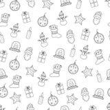 Συρμένες χέρι Χαρούμενα Χριστούγεννα και καλή χρονιά doodle άνευ ραφής PA ελεύθερη απεικόνιση δικαιώματος