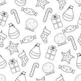 Συρμένες χέρι Χαρούμενα Χριστούγεννα και καλή χρονιά doodle άνευ ραφής PA απεικόνιση αποθεμάτων