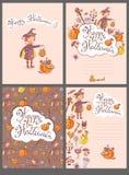 Συρμένες χέρι doodle διανυσματικές ευχετήριες κάρτες αποκριών με τη μάγισσα ελεύθερη απεικόνιση δικαιώματος