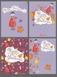 Συρμένες χέρι doodle διανυσματικές ευχετήριες κάρτες αποκριών με το vampi διανυσματική απεικόνιση