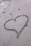 συρμένη άμμος καρδιών Στοκ εικόνες με δικαίωμα ελεύθερης χρήσης