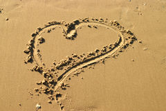 συρμένη άμμος καρδιών Στοκ Εικόνες