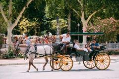 Συρμένη άλογο μεταφορά Plaza de Espana στη Σεβίλη, Ανδαλουσία Στοκ εικόνες με δικαίωμα ελεύθερης χρήσης