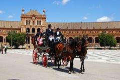 Συρμένη άλογο μεταφορά, Plaza de Espana Στοκ Εικόνες