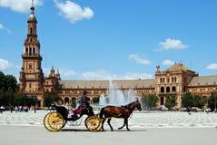 Συρμένη άλογο μεταφορά, Plaza de Espana Στοκ Φωτογραφία