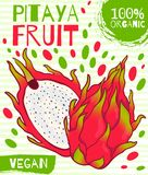 Συρμένη διάνυσμα ετικέτα για τα φρούτα pitaya Για την καλλιέργεια, που συσκευάζει, ένα υγιές προϊόν, vegan Στοκ φωτογραφία με δικαίωμα ελεύθερης χρήσης