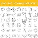 Συρμένη ευθυγραμμισμένη Doodle καθορισμένη επικοινωνία ΙΙ εικονιδίων απεικόνιση αποθεμάτων