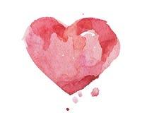Συρμένη ζωηρόχρωμη χέρι κόκκινη καρδιά ακουαρελών Watercolor Στοκ Εικόνες