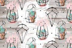 Συρμένη η χέρι αφηρημένη κατασκευασμένη απεικόνιση με τις succulent εγκαταστάσεις στα σημεία σχεδίων και Πόλκα terrariums απομόνω Στοκ Εικόνες