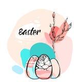 Συρμένη η χέρι διανυσματική αφηρημένη δημιουργική απεικόνιση χαιρετισμού Πάσχας με το floral brunch και την αφηρημένη βούρτσα χρω Στοκ φωτογραφίες με δικαίωμα ελεύθερης χρήσης
