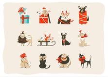 Συρμένη η χέρι διανυσματική αφηρημένη συλλογή απεικονίσεων εικονιδίων χρονικών κινούμενων σχεδίων Χαρούμενα Χριστούγεννας διασκέδ Στοκ Εικόνες