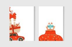 Συρμένη η χέρι διανυσματική αφηρημένη συλλογή καρτών χρονικών κινούμενων σχεδίων Χαρούμενα Χριστούγεννας διασκέδασης έθεσε με τις Στοκ Εικόνες