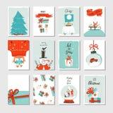 Συρμένη η χέρι διανυσματική αφηρημένη συλλογή καρτών χρονικών κινούμενων σχεδίων Χαρούμενα Χριστούγεννας διασκέδασης έθεσε με τις Στοκ φωτογραφία με δικαίωμα ελεύθερης χρήσης