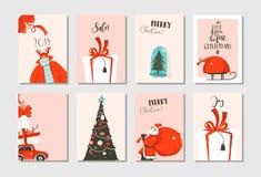 Συρμένη η χέρι διανυσματική αφηρημένη συλλογή καρτών χρονικών κινούμενων σχεδίων Χαρούμενα Χριστούγεννας διασκέδασης έθεσε με τις Στοκ Φωτογραφία