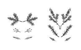 Συρμένη η χέρι διανυσματική συλλογή στοιχείων σχεδίου χαιρετισμού Χαρούμενα Χριστούγεννας τραχιά ελεύθερη γραφική έθεσε με το μελ Στοκ εικόνες με δικαίωμα ελεύθερης χρήσης