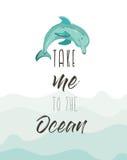 Συρμένη η χέρι διανυσματική αφηρημένη χαριτωμένη αφίσα απεικόνισης θερινού χρόνου με το δελφίνι και το σύγχρονο απόσπασμα καλλιγρ Στοκ Εικόνα
