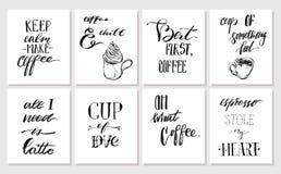 Συρμένη η χέρι διανυσματική γραφική συλλογή αφισών ή καρτών μελανιού έθεσε τα χειρόγραφα σύγχρονα αποσπάσματα καλλιγραφίας καφέ π Στοκ Εικόνα