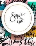 Συρμένη η χέρι διανυσματική περίληψη σώζει την κάρτα προτύπων ημερομηνίας Στοκ Εικόνα