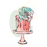 Συρμένη η χέρι διανυσματική χαριτωμένη απεικόνιση κολάζ γενεθλίων ή γάμου με το κέικ και η succulent διακόσμηση λουλουδιών στο κέ Στοκ Εικόνες