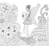 Συρμένη η χέρι νεράιδα που περπατά στα λουλούδια προσγειώνεται για το χρωματισμό του βιβλίου για τον ενήλικο ελεύθερη απεικόνιση δικαιώματος
