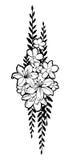 Συρμένη η χέρι ομάδα με τα λουλούδια και τα φύλλα για διακοσμούν Στοκ Εικόνα