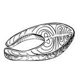 Συρμένη μπριζόλα σολομών σκίτσων γραμμών χέρι Στοκ Εικόνες