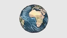 Συρμένη περιστροφή σφαιρών πλανήτη Γη κινούμενων σχεδίων δείκτης στην άσπρη πινάκων ζωτικότητα βρόχων υποβάθρου άνευ ραφής ατελεί διανυσματική απεικόνιση