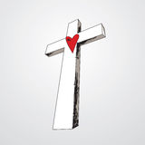 συρμένη σταυρός καρδιά χε&rh Στοκ εικόνες με δικαίωμα ελεύθερης χρήσης
