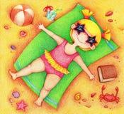 Συρμένη χέρια εικόνα της ηλιοθεραπείας κοριτσιών στην παραλία διανυσματική απεικόνιση