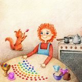 Συρμένη χέρια εικόνα του μικρού παιδιού στην κουζίνα διανυσματική απεικόνιση