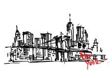 Συρμένη χέρι άποψη της Νέας Υόρκης Στοκ εικόνες με δικαίωμα ελεύθερης χρήσης
