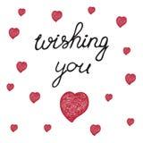 Συρμένη χέρι αγάπη και doodle καρδιές λέξεων Στοκ εικόνες με δικαίωμα ελεύθερης χρήσης