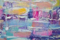 Συρμένη χέρι ακρυλική ζωγραφική αφηρημένη ανασκόπηση τέχνης Ακρυλική ζωγραφική στον καμβά Σύσταση χρώματος Τεμάχιο του έργου τέχν διανυσματική απεικόνιση
