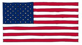 συρμένη χέρι αμερικανική σημαία των Ηνωμένων Πολιτειών της Αμερικής διανυσματική απεικόνιση